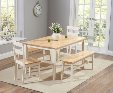Chichester 150 cm Oak with Cream Dining Table with 4 Chairs with 1  Large Bench