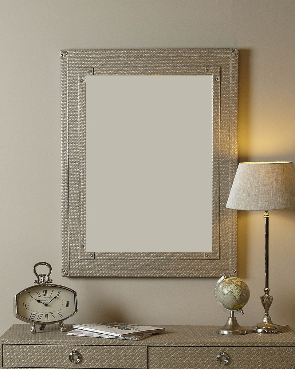 Light Taupe Faux Leather Weave Beveled Wall Mirror