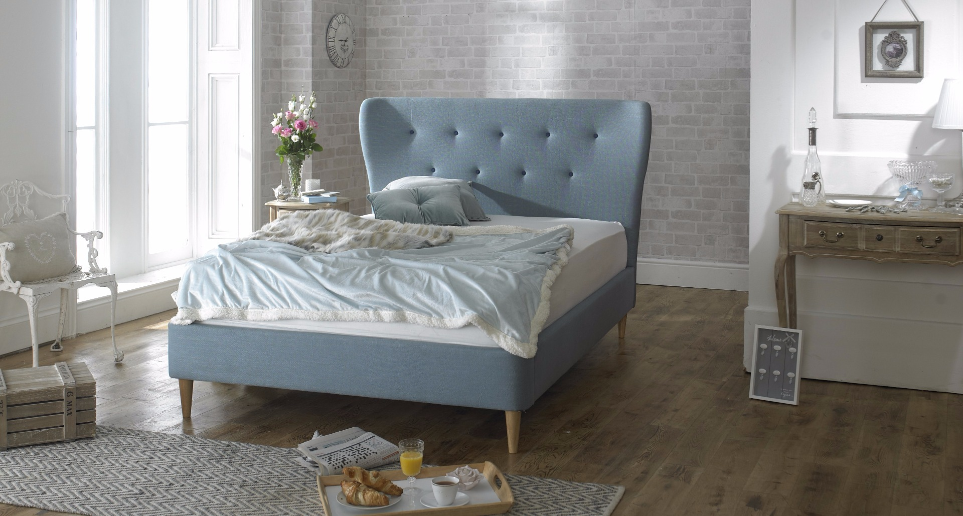 Photo of Limelight aurora 5ft king size blue fabric bed