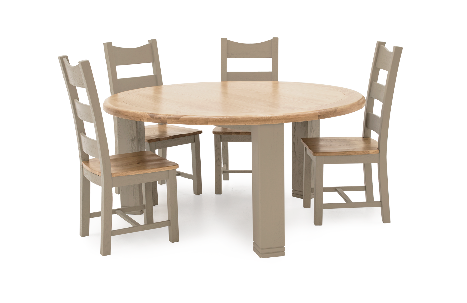 Logan 156cm Round Oak Dining Table with 4 Ladder Back Dining Chairs