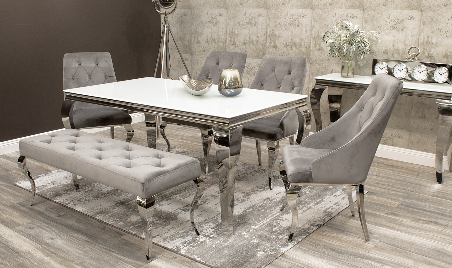 Louis 160cm White Glass Dining Table with 4 Cassia Chairs wi