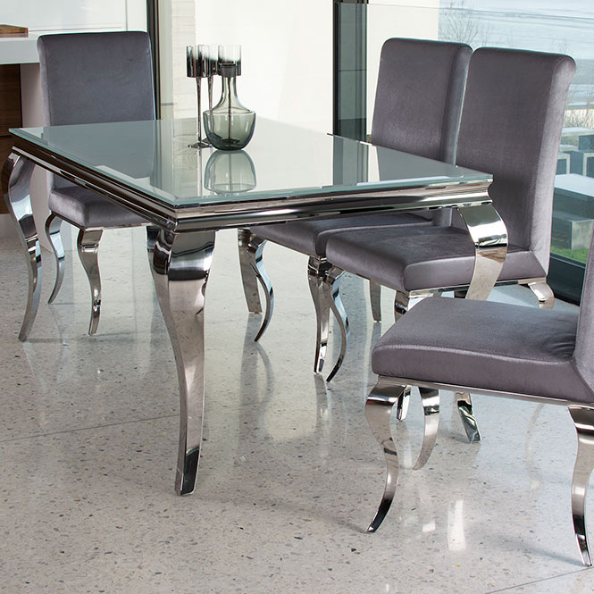 Louis 200cm White Glass Large Dining Table With 6 Chairs