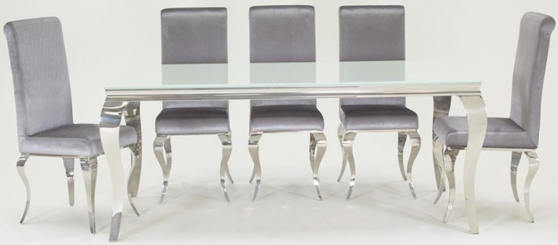 Louis 200cm White Glass Large Dining Table with 8 Silver Cha