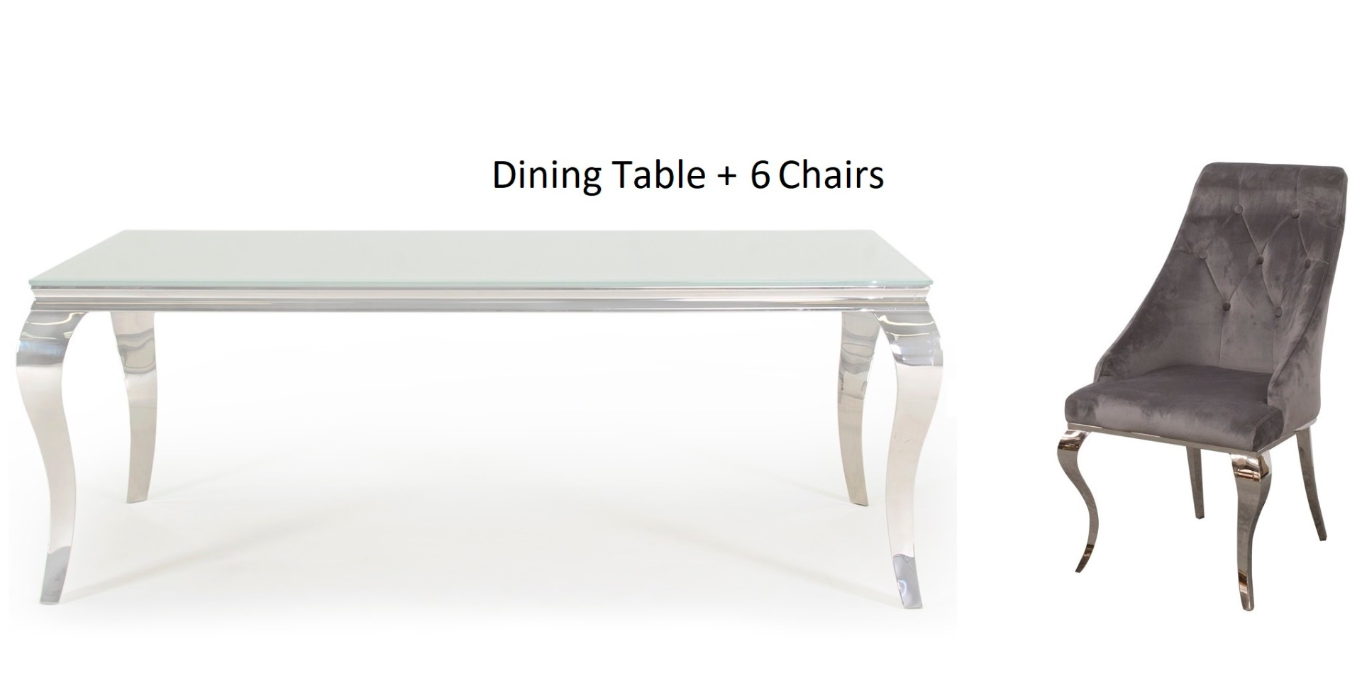 Louis 200cm White Glass Dining Table with 6 Cassia Grey