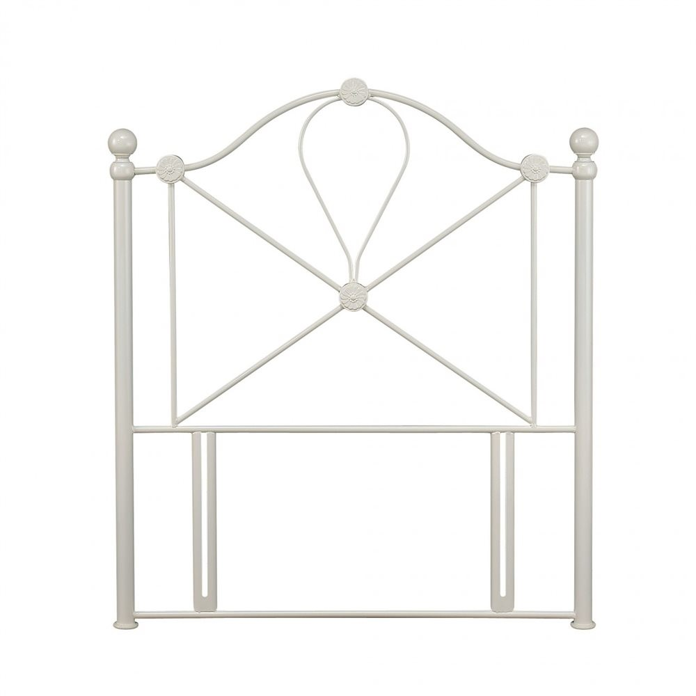 Serene Lyon 3ft Single Ivory Gloss Metal Headboard