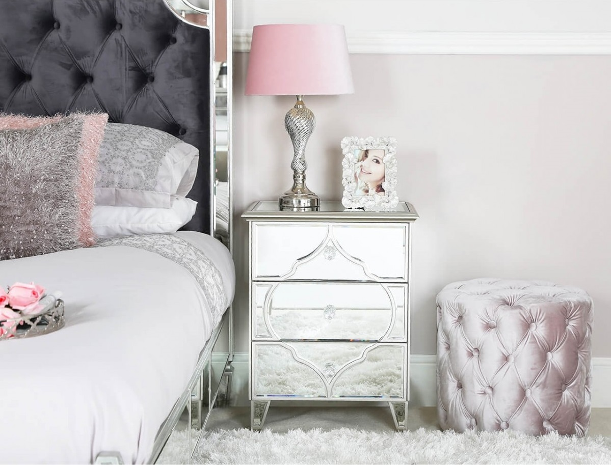 Madeira 3 Drawer Mirrored Bedside Cabinet