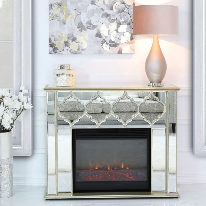 Madeira Gold Mirror Fire Surround With Electric Fire Insert