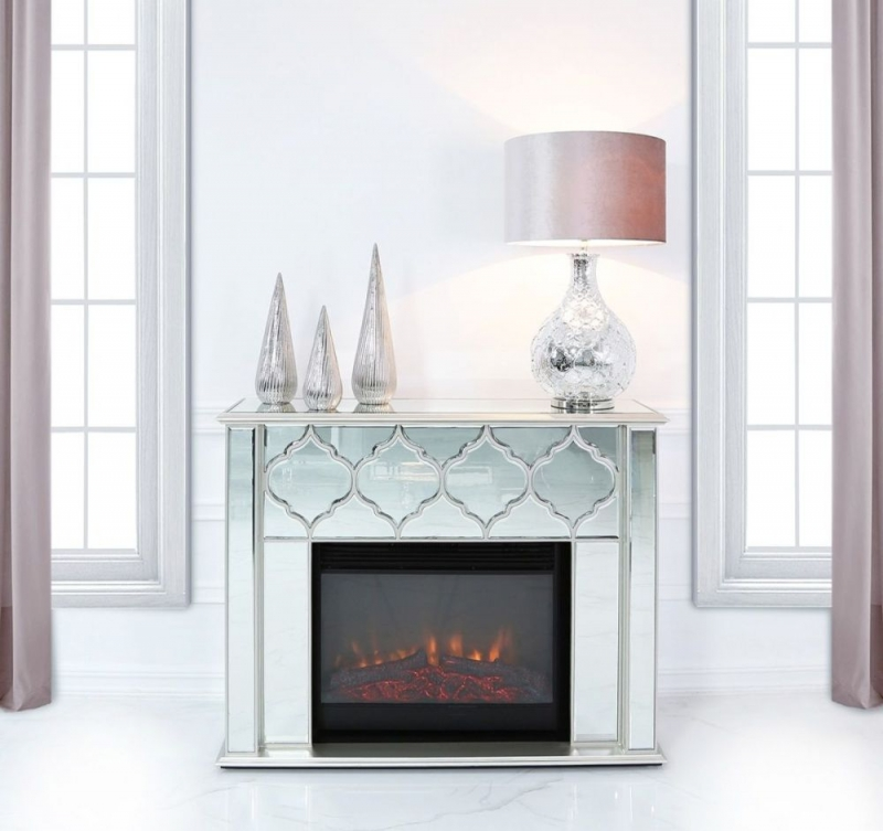 Madeira Silver Mirror Fire Surround With Electric Fire Insert