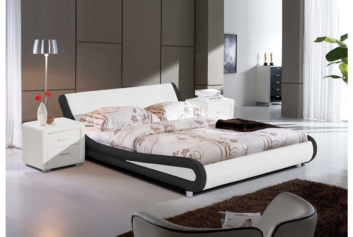 Montana 5ft Kingsize Black & White Leather Bed