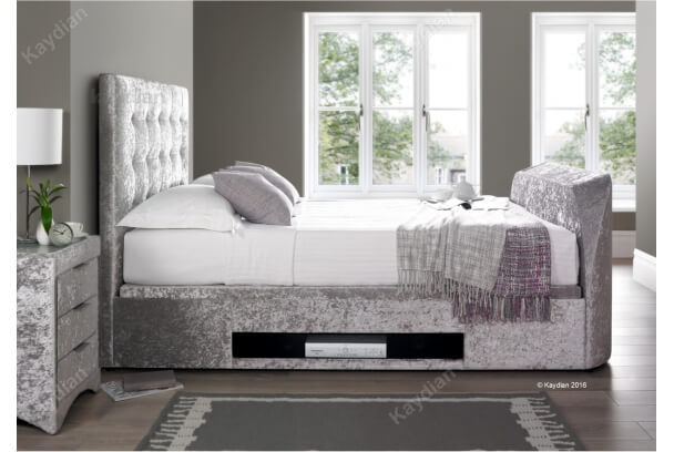 Kaydian Barnard 4ft6 Double Silver Fabric Tv Ottoman Storage Bed