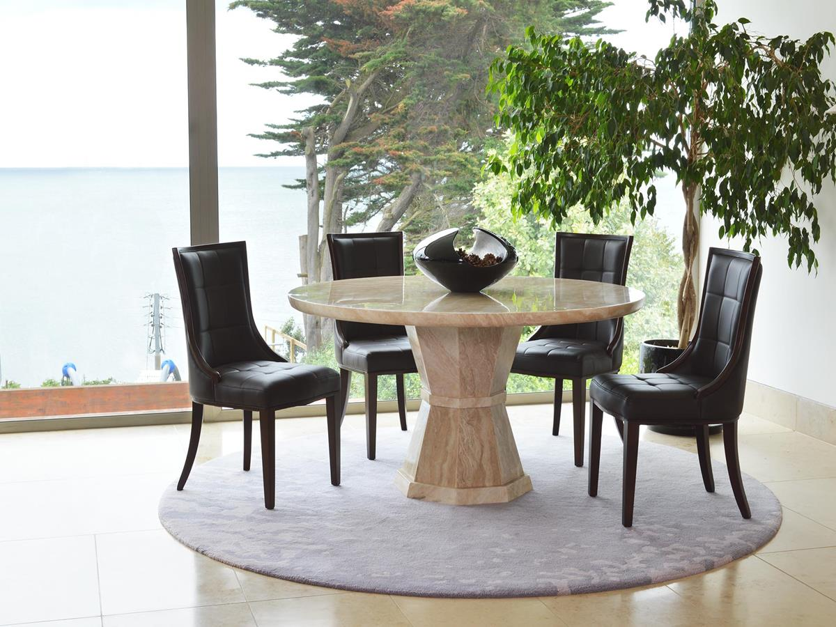 Marcello Cream Marble 150cm Round Dining Table With 6 Marcello Chairs