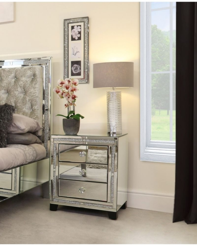 Massimo Mirrored Bedside Cabinet