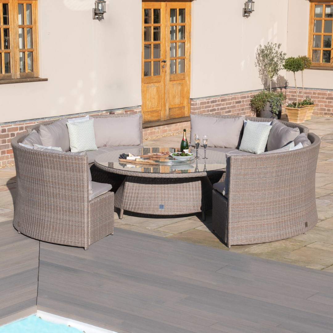 Maze Harrogate Natural Rattan Round Sofa Dining Set with Rising Table