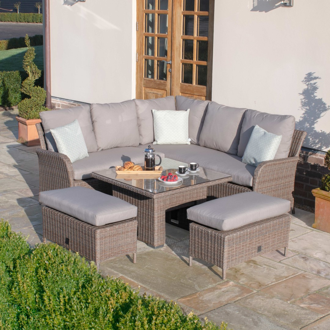 Photo of Maze harrogate natural rattan square corner dining set with rising table