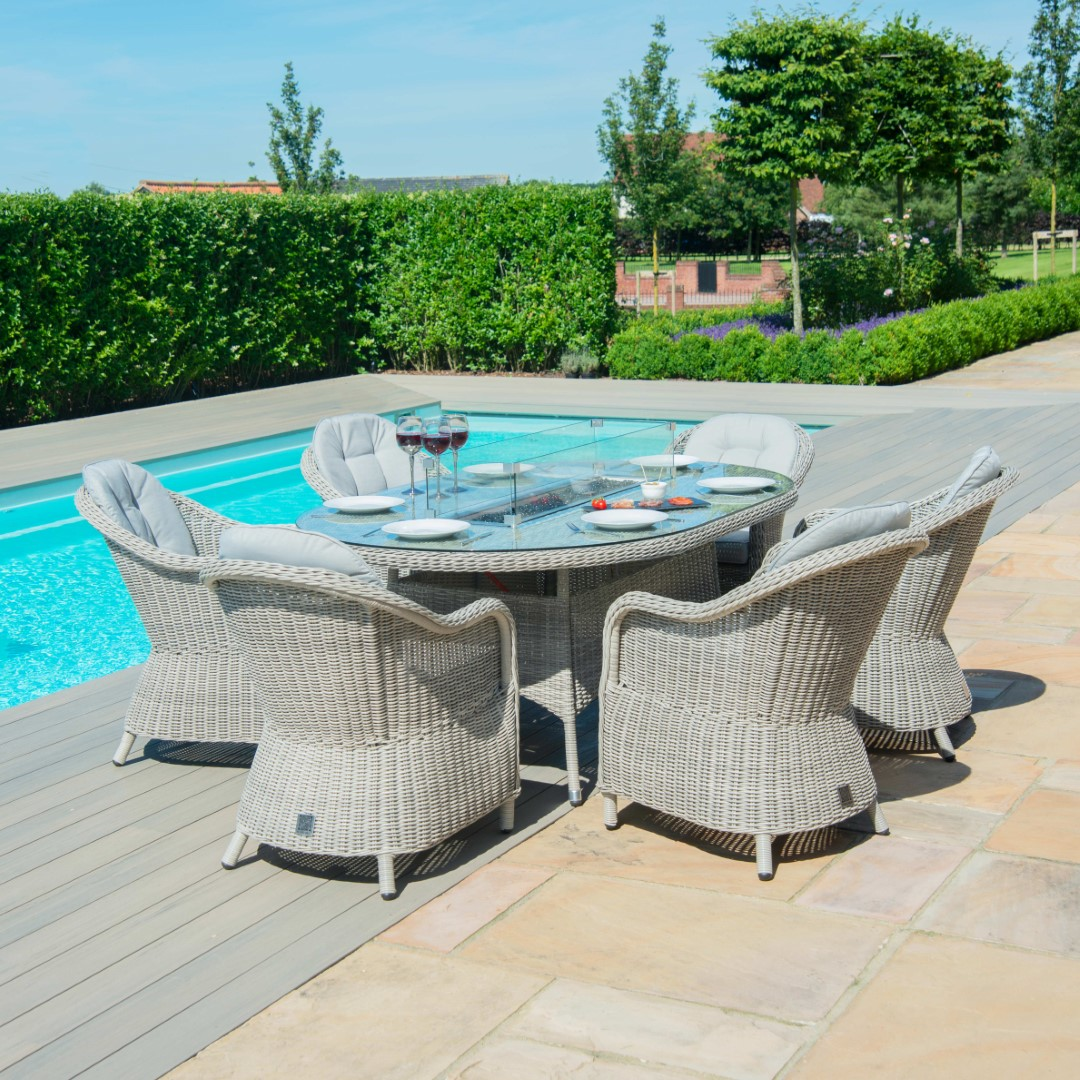 Maze Oxford Grey Rattan 6 Seat Oval Fire Pit Set with Heritage Chairs