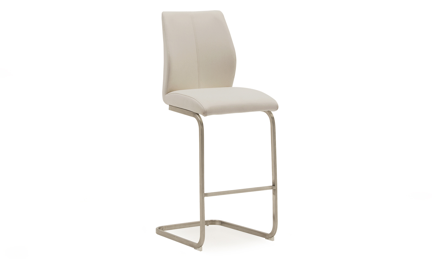 Irma Faux Leather Taupe Brushed Steel Bar Stool Chair