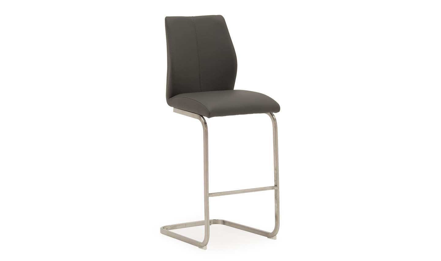 Irma Faux Leather Grey Brushed Steel Bar Stool Chair