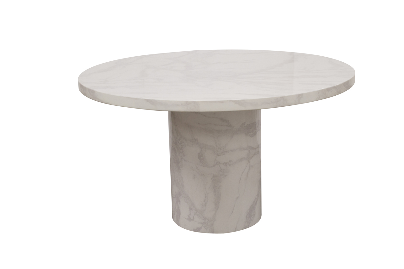 Carra 130cm White Round Marble Dining Table