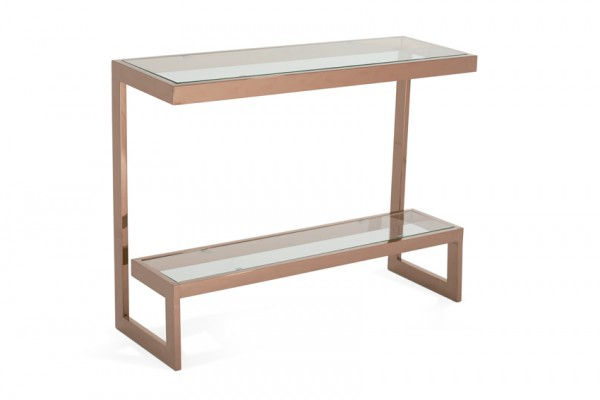 Serene Mera Glass Top with Rose Gold Console Table