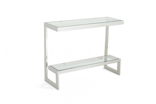 Serene Mera Glass Top with Stainless Steel Console Table