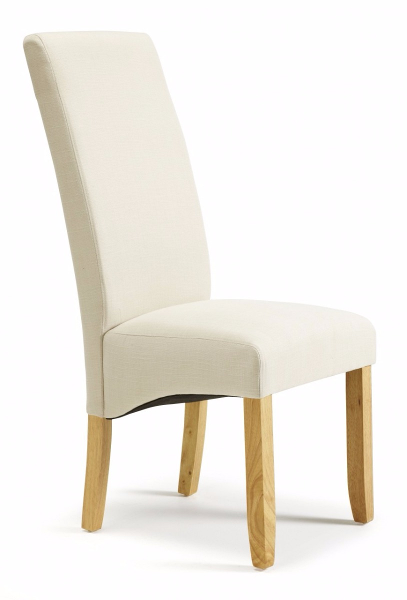 Serene Merton Putty Fabric Dining Chair With Oak Legs
