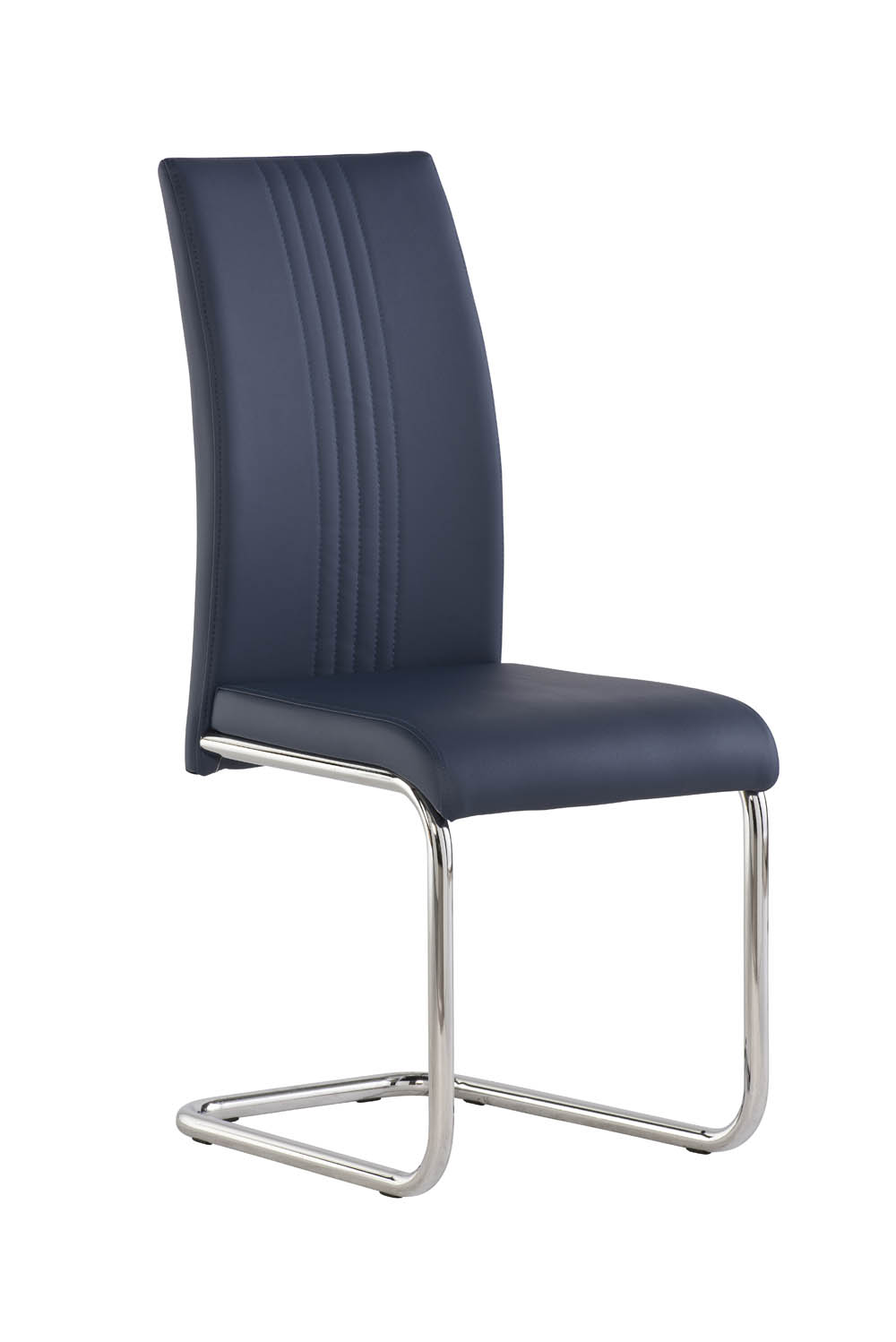 Monaco 1.6m Grey High Gloss Dining Table With 6 Monaco Blue Pu Leather Chairs