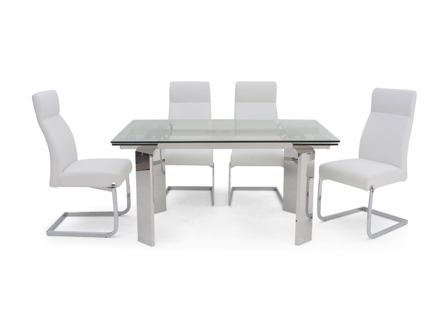 Fairmont Nataliya Ext Clear Glass Dining Table + 6 Dante