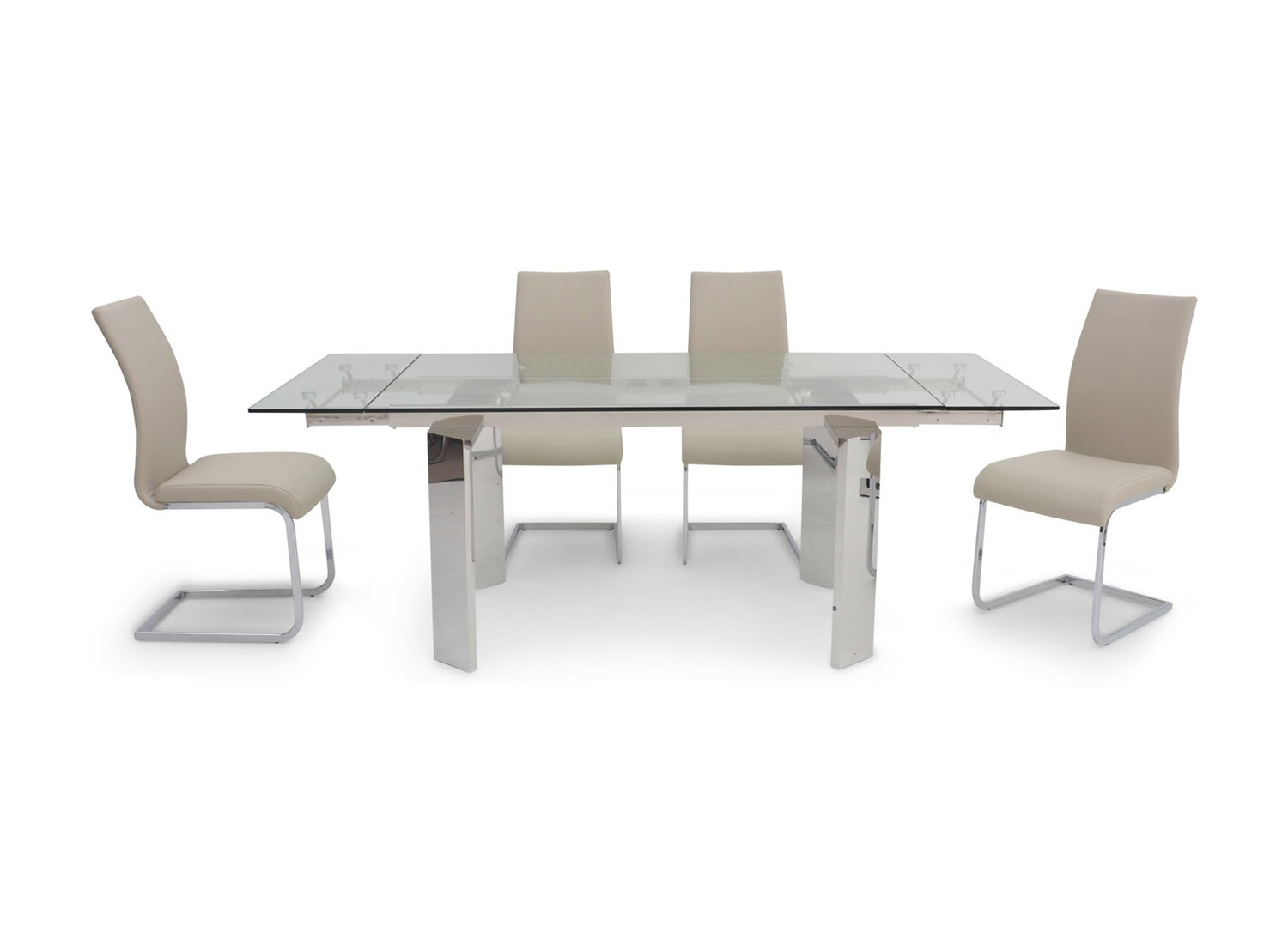 Fairmont Nataliya Ext Clear Glass Dining Table + 6 Paolo White Chairs