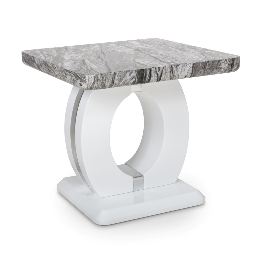 Neptune Marble Effect Top High Gloss Grey/White Side (Lamp) Table