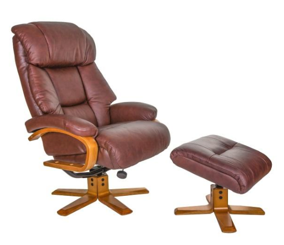 Nice Chestnut Leather Swivel Recliner With Footstool