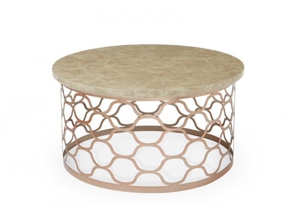 Photo of Serene ophelia marble effect rose gold plated coffee table