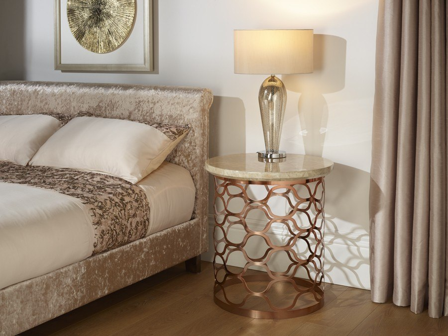 Photo of Serene ophelia marble effect rose gold plated lamp table
