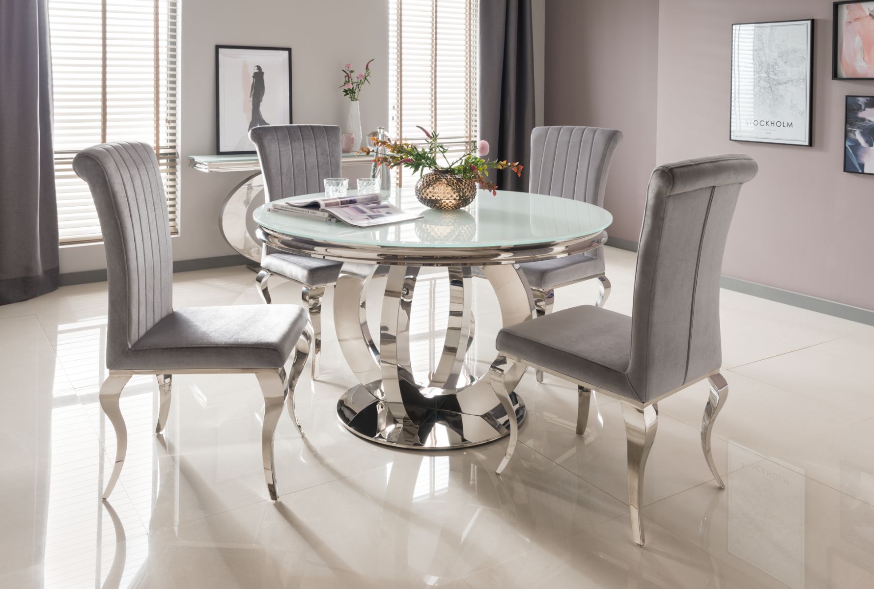 Orion 130cm Round White Glass Dining Table with 4 Nicole Silver Fabric Chairs