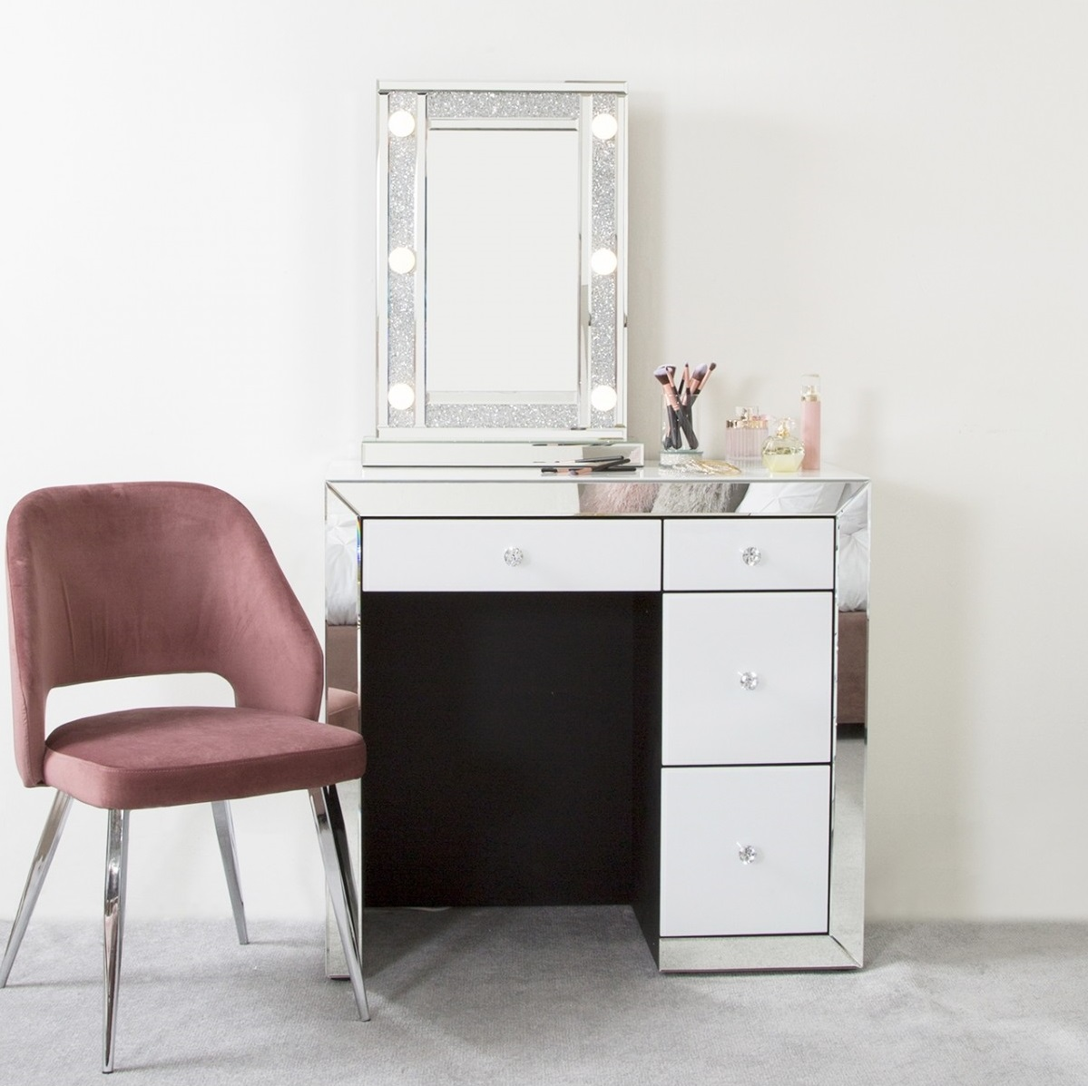Oslo White And Clear Mirror 4 Drawer Dressing Table