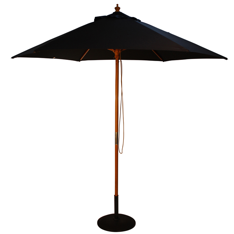 2.5m Black Parasol With Wooden Pole And Pulley