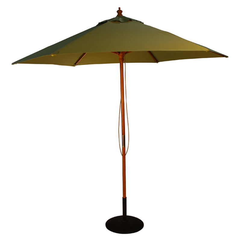 Light Pole Wood: 2.5m Light Green Parasol With Wooden Pole And Pulley