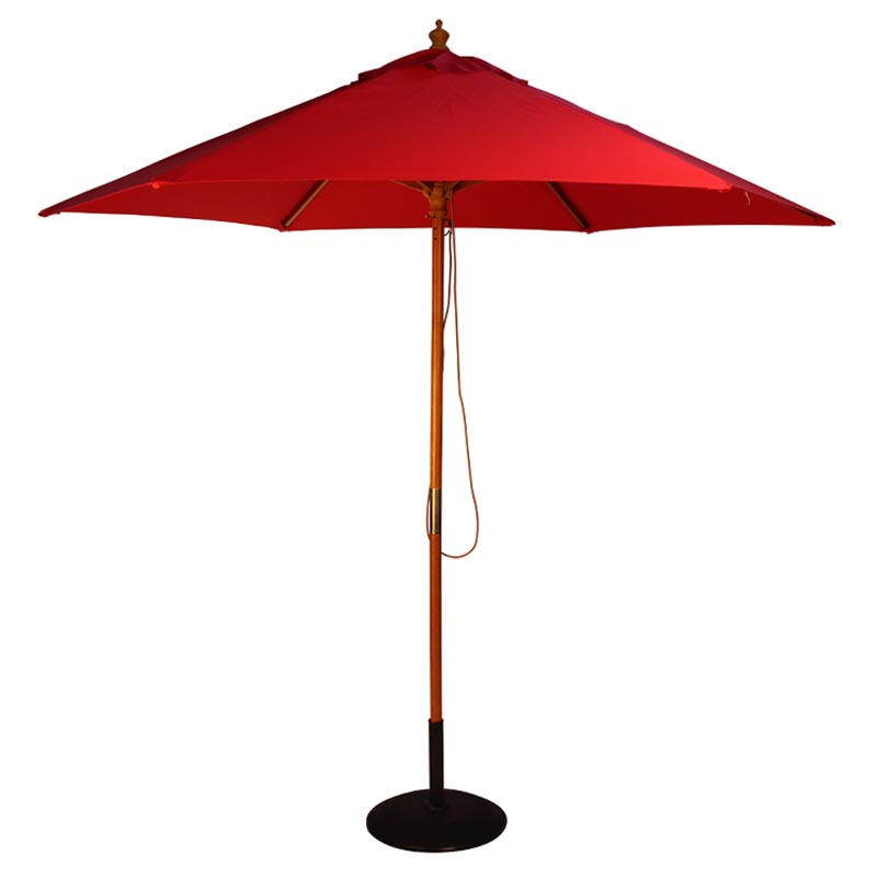 2.5m Red Parasol With Wooden Pole And Pulley