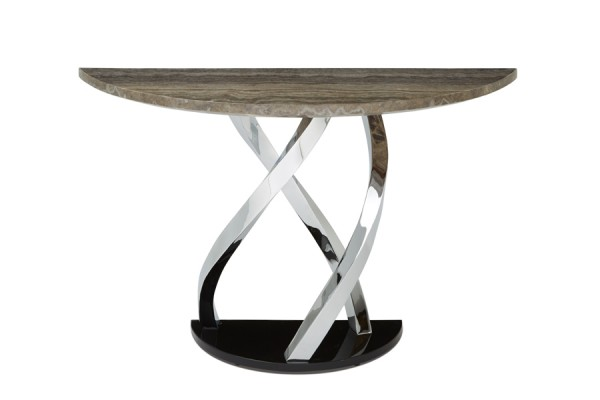 Serene Pandora Marble Effect Chrome Plated Console Table