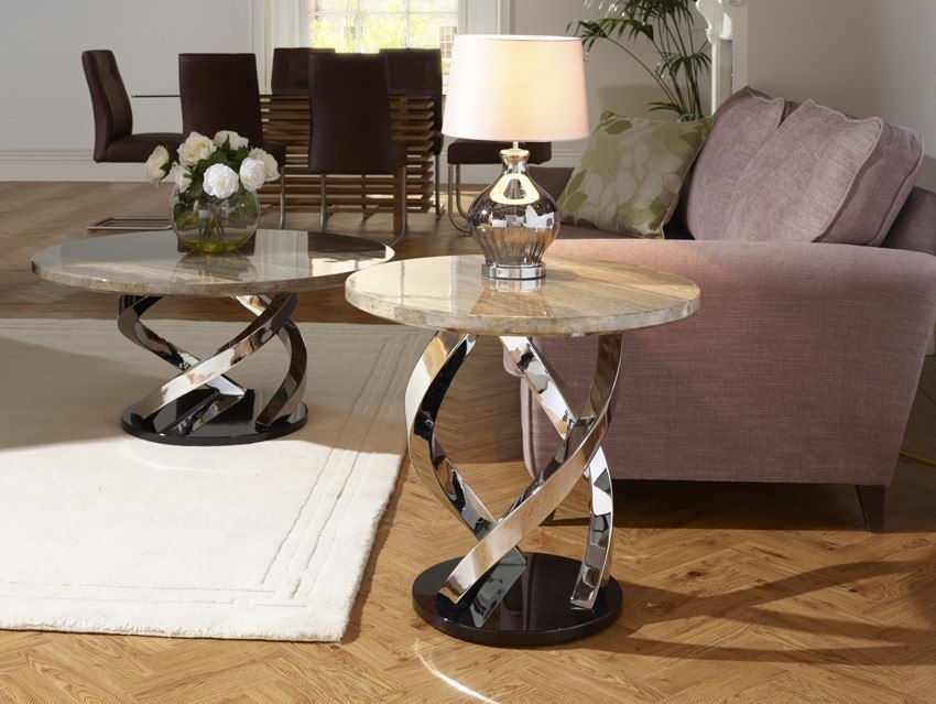 Photo of Serene pandora marble effect chrome plated lamp table