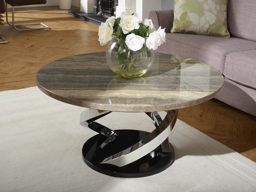Photo of Serene pandora marble effect chrome plated coffee table
