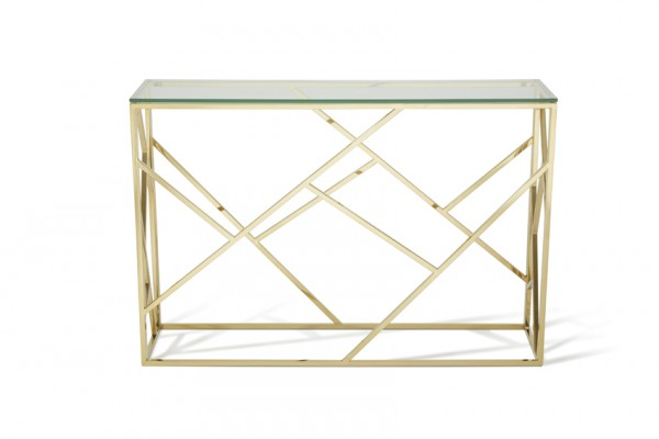 Serene Phoenix Glass Top Gold Console Table