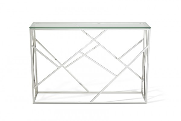 Serene Phoenix Glass Top Stainless Steel Console Table