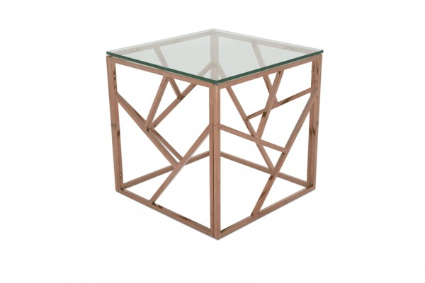 Photo of Serene phoenix glass top rose gold lamp table