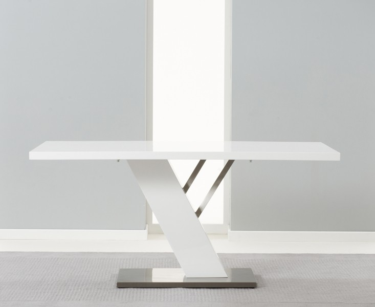 Portland 160 cm White High Gloss Dining Table