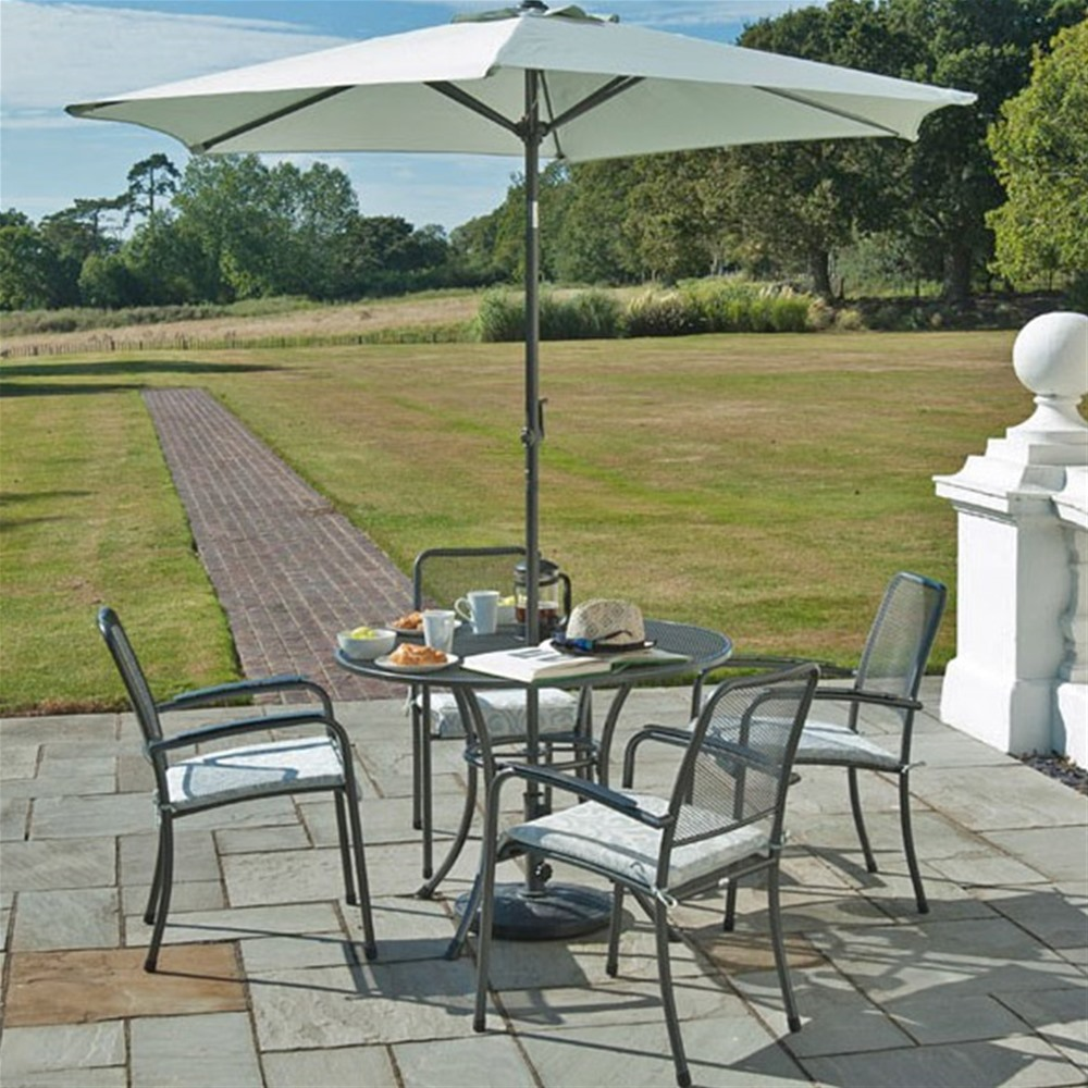 Alexander Rose Portofino 4 Seat Set with Stacking Armchairs, Parasol and Base