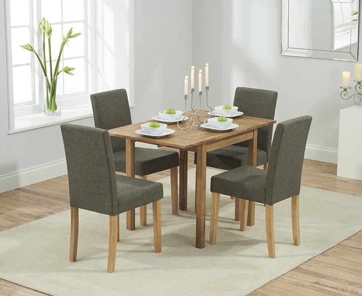 Promo Solid Oak Extending Dining Table + 4 Maiya Brown Fabri