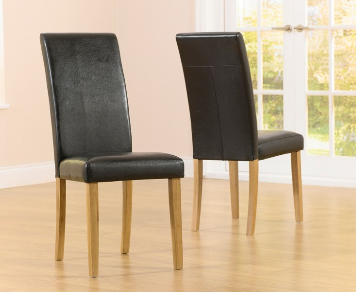'Atlanta Smooth Brown Faux Leather Dining Chair With Solid Oak Legs