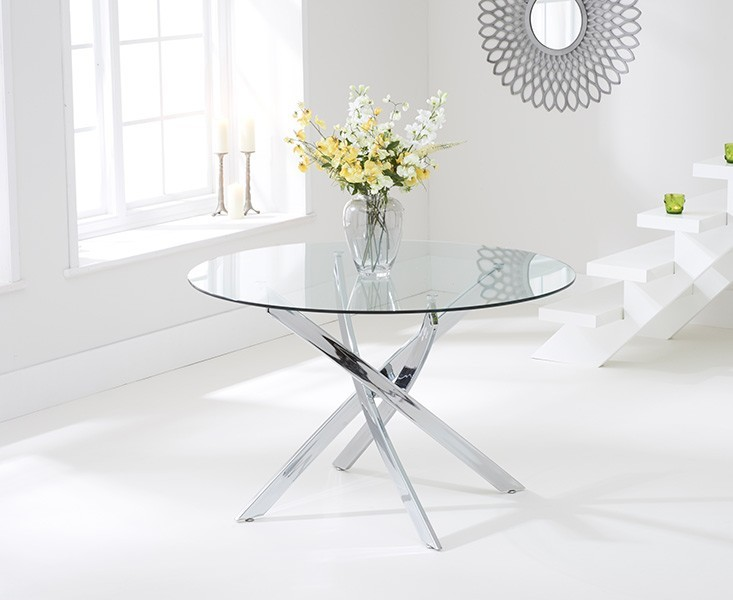Daytona 110cm Clear Glass Round Dining Table