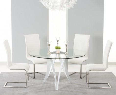 Bellevue 130cm Round Glass Dining Table With 4 Malibu White Leather Chairs