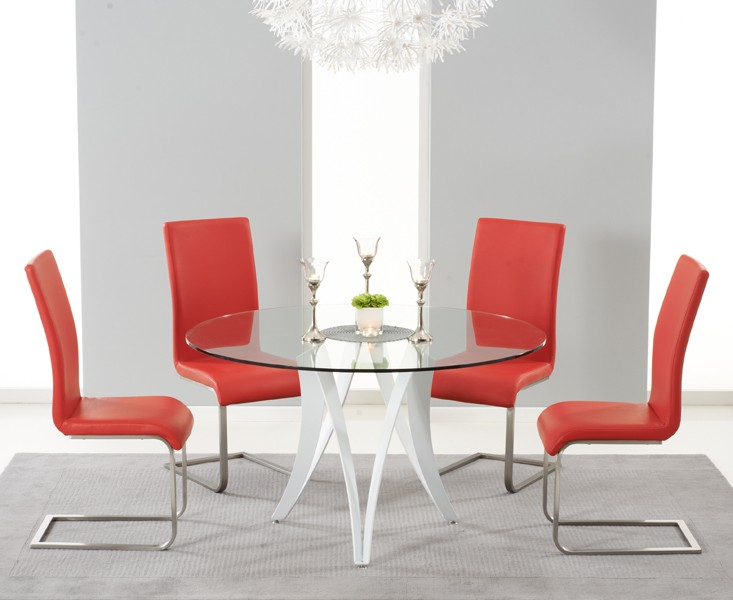 Bellevue 130cm Round Glass Dining Table With 4 Malibu Red Leather Chairs